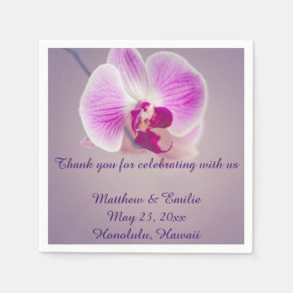 Purple Orchid Flower Paper Wedding Napkins Disposable Napkins