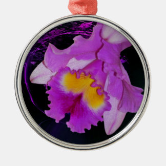 Purple Orchid flower Silver-Colored Round Ornament