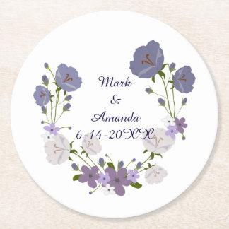 Purple Orchid Lavender Flower Wreath Wedding Round Paper Coaster