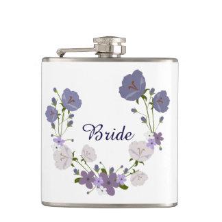 Purple Orchid Lavender Flowers Floral Wreath Flask
