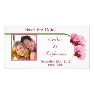 Purple Orchid Wedding Photo Announcement Card