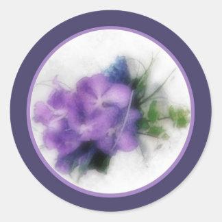Purple orchids 1 envelope seal round sticker