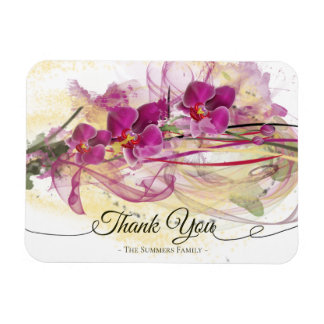 Purple Orchids Abstract Art Calligraphy Magnet