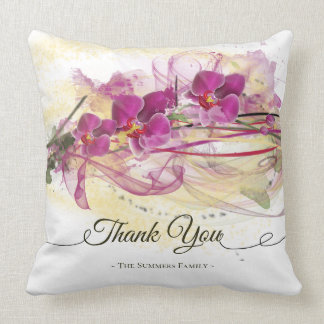 Purple Orchids Abstract Art Calligraphy Throw Pillow