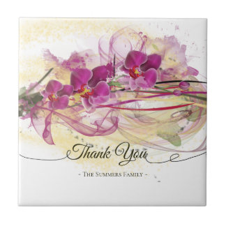 Purple Orchids Abstract Art Calligraphy Tile