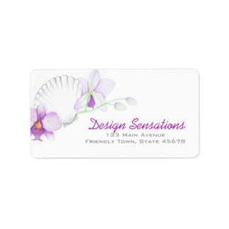 Purple Orchids and SeaShell address label