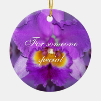 Purple Orchids Ceramic Ornament