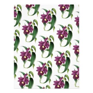 Purple Orchids flowers Pattern Letterhead