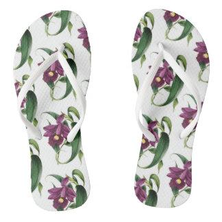 Purple Orchids Pattern Flip Flops