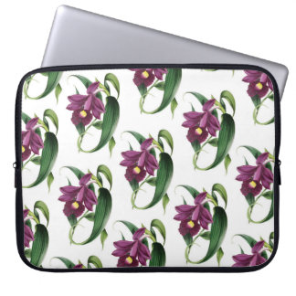 Purple Orchids Pattern Laptop Sleeve