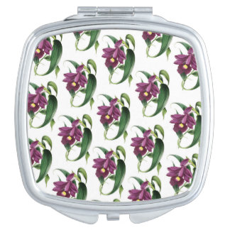 Purple Orchids Pattern Mirrors For Makeup
