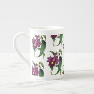 Purple Orchids Pattern Tea Cup