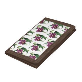 Purple Orchids Pattern Tri-fold Wallet