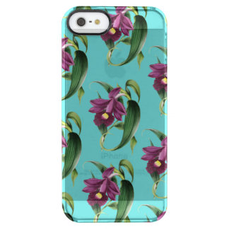 Purple Orchids Teal Pattern Clear iPhone SE/5/5s Case