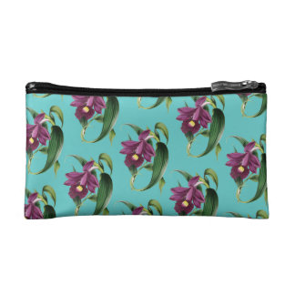 Purple Orchids Teal Pattern Cosmetic Bag