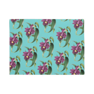 Purple Orchids Teal Pattern Doormat