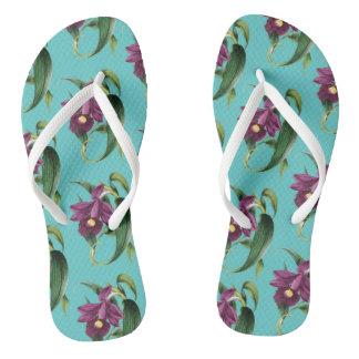 Purple Orchids Teal Pattern Flip Flops