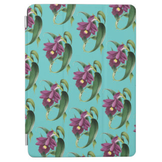 Purple Orchids Teal Pattern iPad Air Cover
