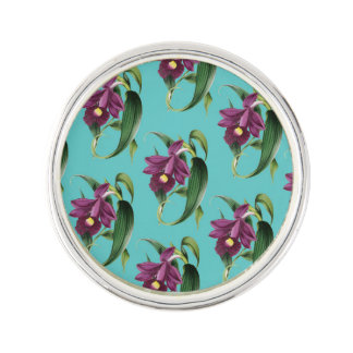 Purple Orchids Teal Pattern Lapel Pin