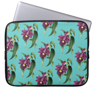 Purple Orchids Teal Pattern Laptop Sleeve