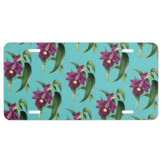 Purple Orchids Teal Pattern License Plate