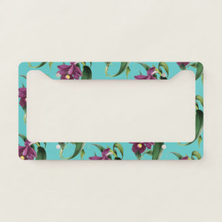 Purple Orchids Teal Pattern License Plate Frame