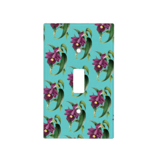 Purple Orchids Teal Pattern Light Switch Cover