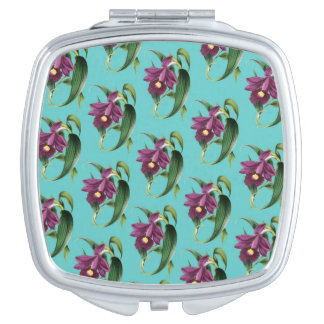 Purple Orchids Teal Pattern Mirrors For Makeup