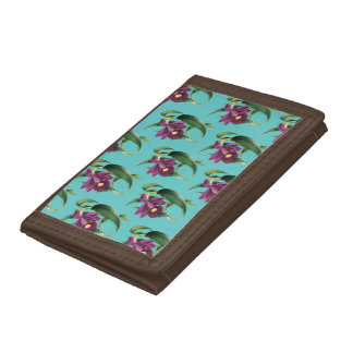 Purple Orchids Teal Pattern Trifold Wallet
