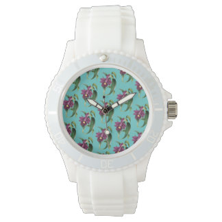Purple Orchids Teal Pattern Watch