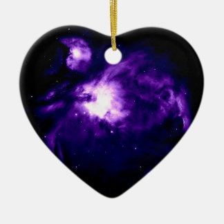 Purple Orion Nebula : Galaxy Ceramic Heart Ornament