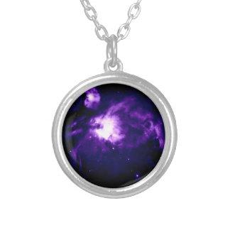 Purple Orion Nebula : Galaxy Silver Plated Necklace