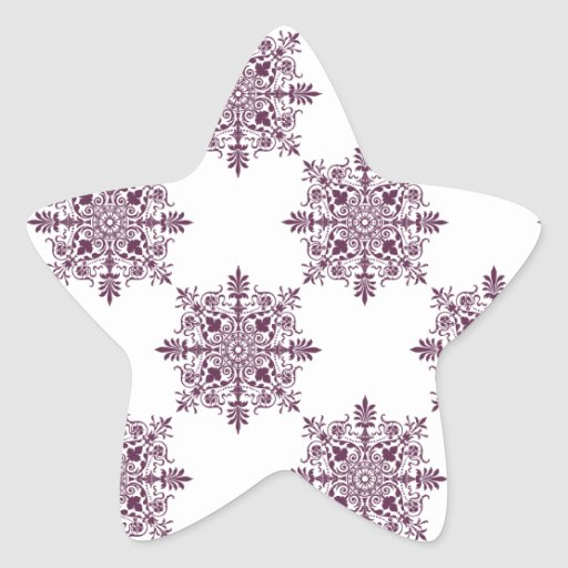purple ornamental damask star sticker
