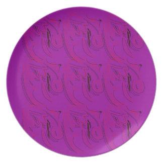 Purple ornaments / shop plate