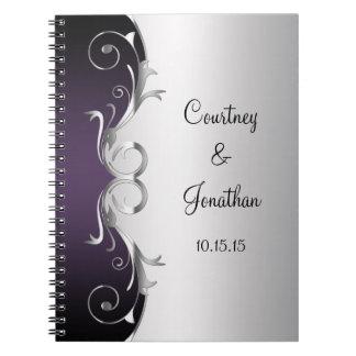 Purple Ornate Silver Swirls Wedding Guest Book