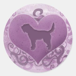 Purple Otterhound Valentine Round Sticker