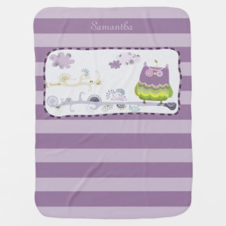Purple Owl Baby Blanket