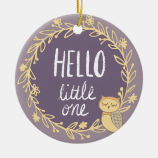 Purple Owl Baby's First Christmas Photo Round Ceramic Ornament