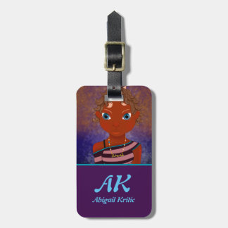 Purple owl butterfly girl luggage tag