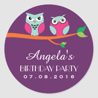 Purple Owl Cartoon Birthday Sticker for Kids Party