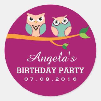 Purple Owl Cartoon Sticker for Kids Birthday Party