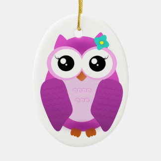 Purple Owl Ceramic Ornament