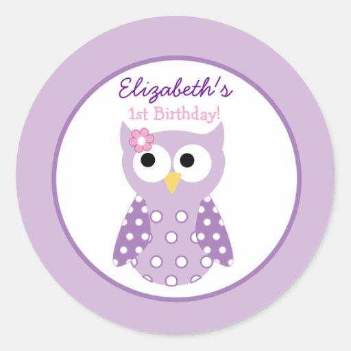 Purple Owl Girl Round Custom Favor Sticker Round Stickers