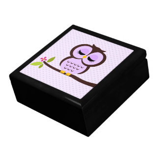 Purple Owl Illustration Gift Box