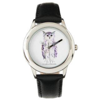 Purple Owl in Watercolor Wrist Watch