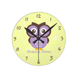 Purple Owl Personalized Kids Bedroom Wallclock