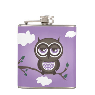 Purple Owl Sitting on a Branch Flask