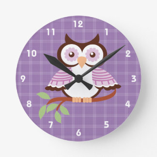 Purple Owl Wall Clock