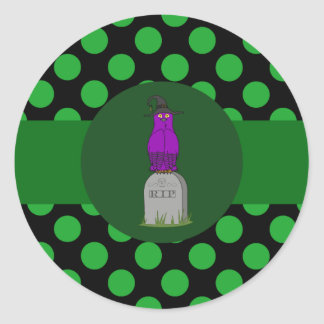 Purple Owl Witch with Grave Stone & Green Dots Round Sticker