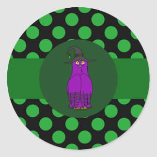 Purple Owl Witch with Green Dots Round Sticker